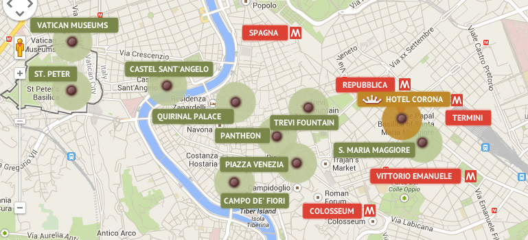 Hotel Corona Rome Official Site 3 Star: Map Of Hotels In Rome City Centre At Infoasik.co